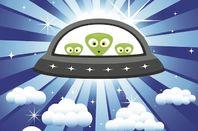 Cartoon Aliens in a spaceship
