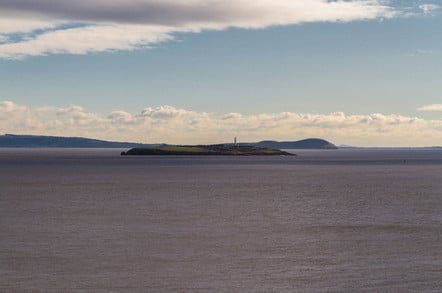 Flat Holm island with lighthouse in Bristol Channel