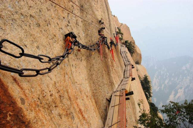 Dangerous walkway via ferrataat top of holy Mount Hua Shan in Shaanxi province near Xi'an, China - Image