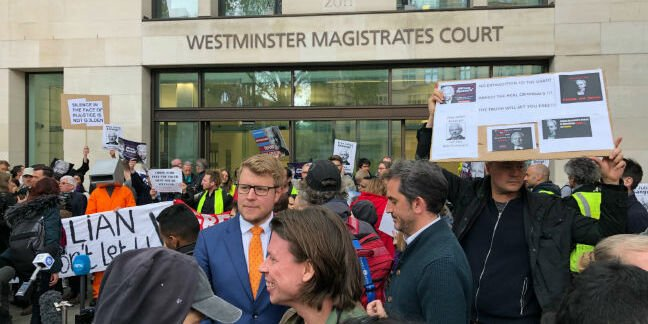 Lauri Love was among the crowd protesting Assange's extradition at Westminster court