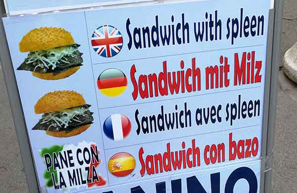 street food sign advertising a spleen sandwich