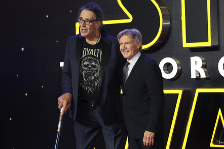 """Peter Mayhew & Harrison Ford at the European premiere of """"Star Wars: The Force Awakens"""" in Leicester Square, London. December 16, 2015 London, UK Picture: James Smith / Featureflash - Image"""