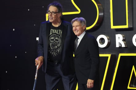 "Peter Mayhew & Harrison Ford at the European premiere of ""Star Wars: The Force Awakens"" in Leicester Square, London. December 16, 2015 London, UK Picture: James Smith / Featureflash - Image"