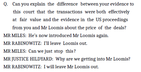 A snippet from the court transcript