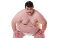Large chap in sumo pose