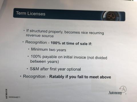 An internal Autonomy guide to revenue recognition. Exhibit K1/196.5/6
