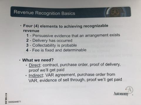 An internal Autonomy guide to revenue recognition basics. Exhibit K1/196.5/6