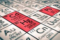 Periodic table highlighting lead, mercury and cadmium