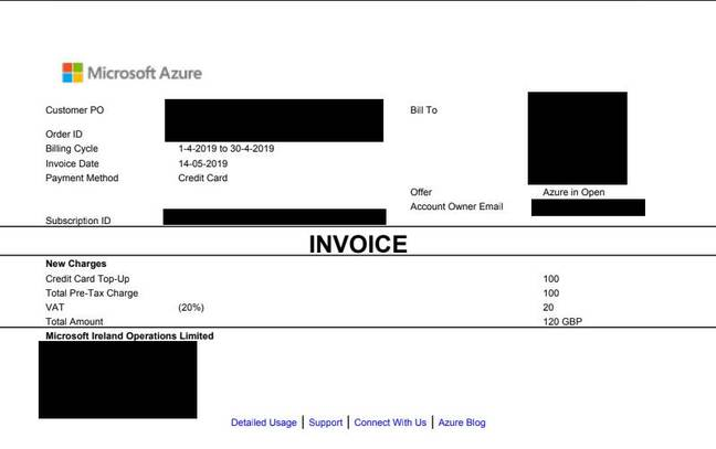 An Azure in Open invoice as attached to each email