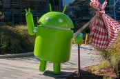 Google Android mascot takes off with a bindle