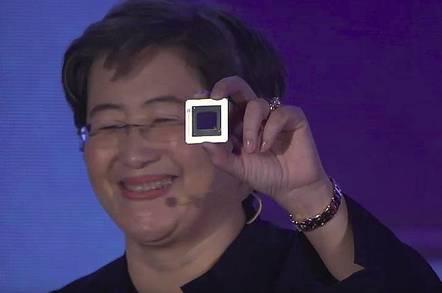 AMD CEO Lisa Su with a Navi GPU