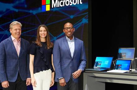 Microsoft execs Nick Parker, Roanne Sones and Rodney Clark on stage at Computex 2019 in Taipei
