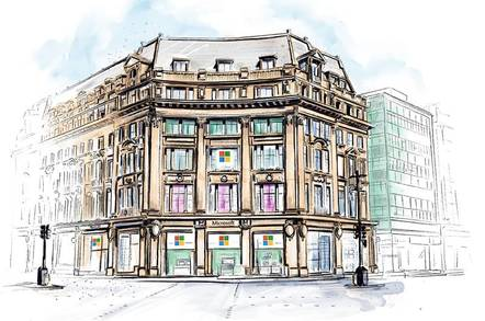 Microsoft's new London store, drawn on a Surface Studio by Phil Galloway