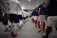 England players before a game