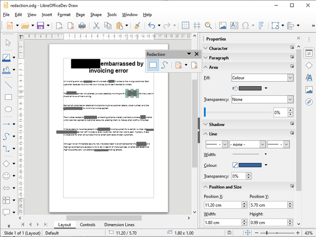 Redacting a document in LibreOffice 6.3
