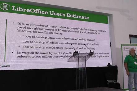 The Document Foundations' Italo Vignoli presents LibreOffice at its 2018 conference in Tirana, Albania