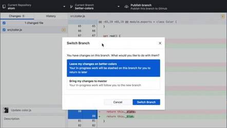 Stashing in GitHub Desktop 2.0