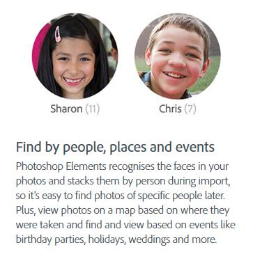 Face recognition is also part of Adobe Photoshop Elements