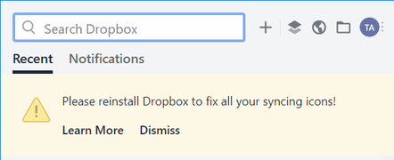 You may need to fix your Dropbox sync icons...