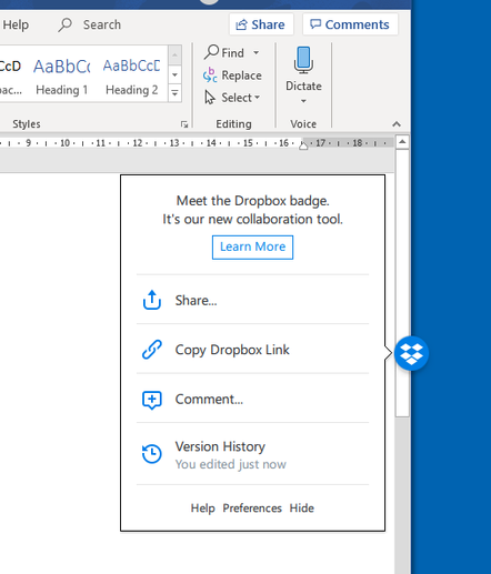 The Dropbox 'badge' that appears in Office documents