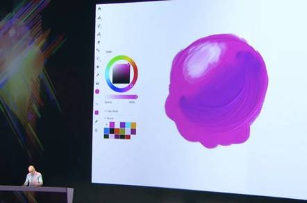 """Adobe's Kyle Webster shows an oil painting """"live brush"""" at Adobe Max 2018"""