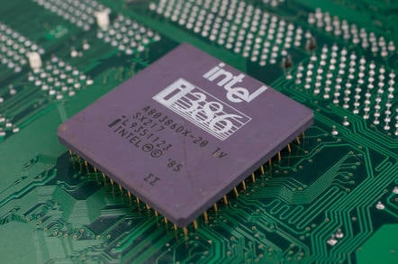 An Intel 386 processor