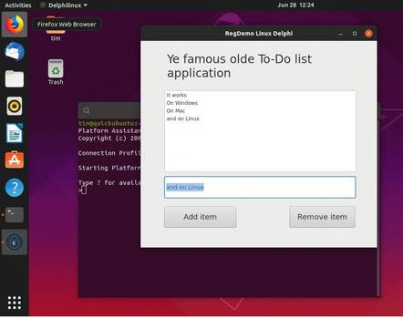 An FmxLinux application up and running on Ubuntu