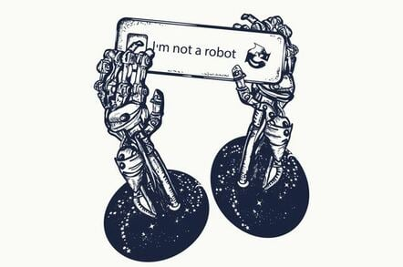 Robot hands holding reCAPTCHA image
