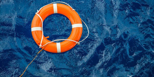 Lifesaving ring floating in the sea