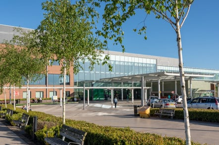Entrance to Royal Stoke University Hospital in Stoke on Trent, U