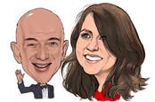 Caricature of Amazon CEO Jeff Bezos and ex-wife MacKenzie