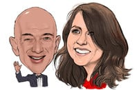 Caricature of Amazon CEO Jeff Bezos and ex-wife MacKenzie