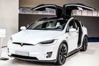 metallic white Tesla Model X at Brussels Motor Show