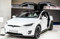 metallic white Tesla Model X at Brussels Motor Show