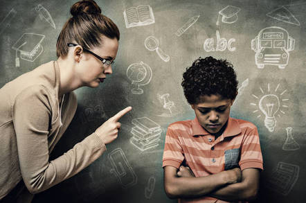 A teacher schooling some kid