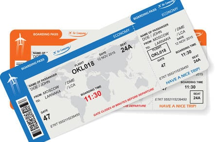 Image of a fake boarding passes