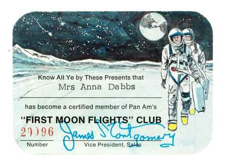 Pan Am ticket to the moon (front) 1969