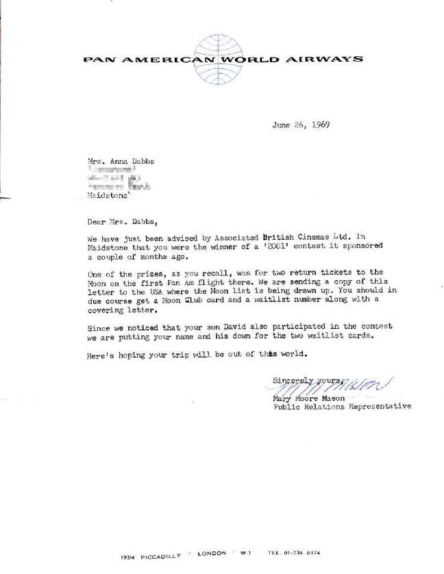 Pan Am ticket to the moon - letter 1969-06-26