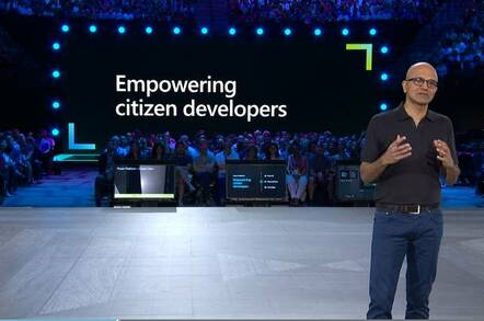 Microsoft CEO Satya Nadella presenting PowerApps on stage at Inspire