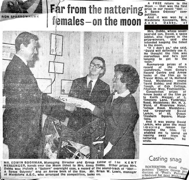 Kent Messenger press cutting of my Mum accepting the top prize in the '2001: A Space Odyssey' competition, 1969