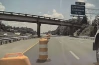 The moment a Tesla on 'Autopilot' collides with a bunch of motorway traffic cones in America