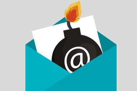 Illustration of a bomb in an email