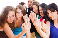 A group showing middle finger