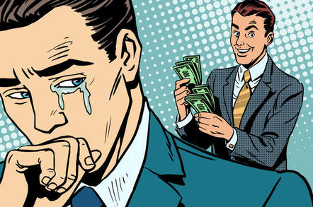 man cries while vendor counts his money (humorous cartoon illustration)