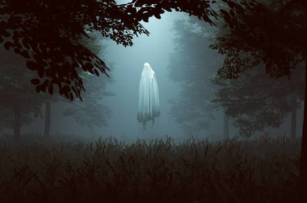 Ghostly figure hovering in a wooded glen