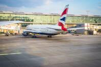 ba plane sits at terminal