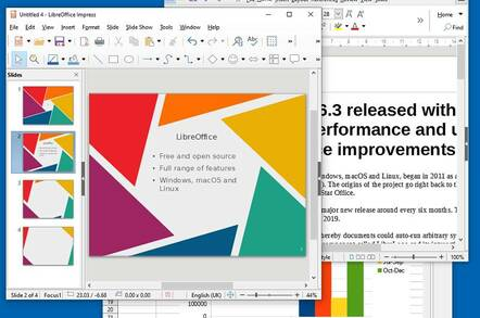 Three of the applications in LibreOffice: Impress, Writer and Calc