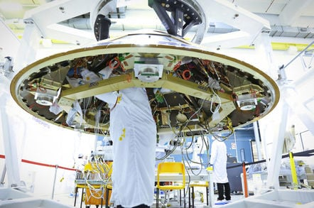 Technicians working on the ExoMars probe module, for a European mission to Mars, at the Thales Alenia Space plants - Image Mike Dotta/Shutterstock