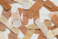 An assortment of band-aids/plasters
