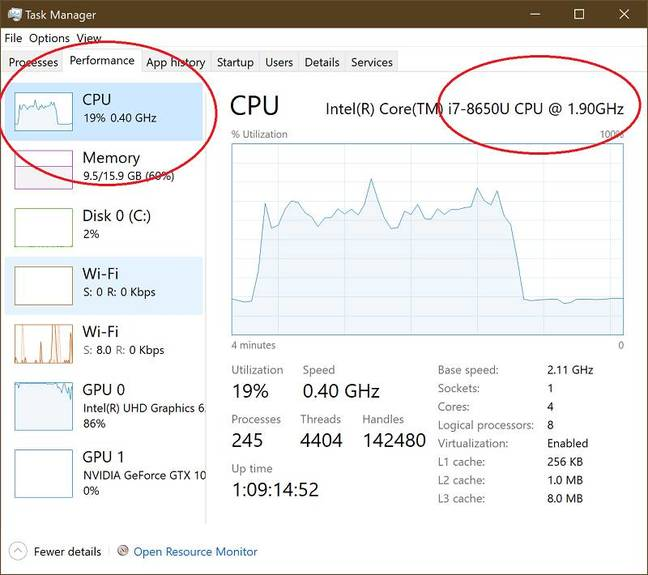 This Surface Book 2 should run at 1.9GHz, but here is dawdling at 400MHz